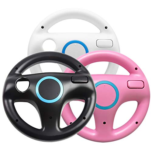 Jadebones 3 x pcs Black White Pink Steering Mario Kart Racing Wheel for Nintendo Wii Remote ()
