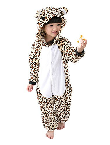 ABING Halloween Pajamas Homewear OnePiece Onesie Cosplay Costumes Kigurumi Animal Outfit Loungewear,Leopard Bear Chidren Size 115 -for