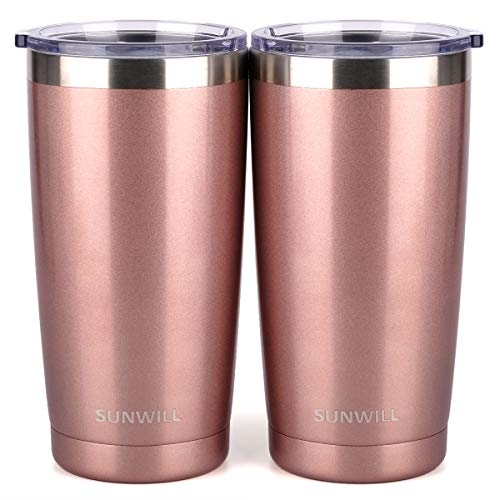 SUNWILL 20oz Tumbler with Lid (Rose Gold 2 pack), Stainless Steel Vacuum Insulated Double Wall Travel Tumbler, Durable Insulated Coffee Mug, Thermal Cup with Splash Proof Sliding Lid