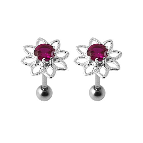 Red CZ Stones Filigree Flower Sterling Silver with 16 Gauge Surgical Steel Stud Earring Tragus Earring