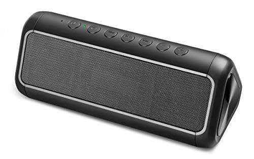 Solar Bluetooth Speaker with 5000mAh Power Bank, Portable Wireless Speaker 50+Hours Playtime Enhanced Bass with 12W Subwoofer Stereo Pairing Outdoor Waterproof Speakers for Indoor, Pool, Home