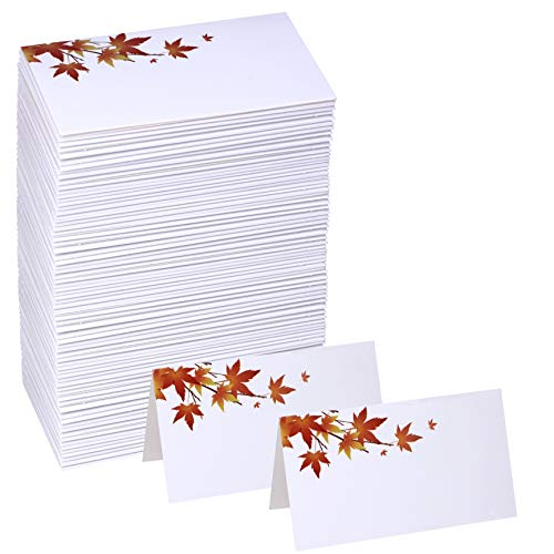 (Winlyn 100 Pcs Table Name Number Tented Place Cards with Fall Maple Leaves Blank Seating Assignment Cards Escort Cards Greeting Cards Bulk 3.5