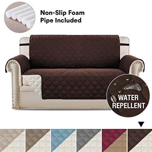 H.VERSAILTEX Sofa Cover Sofa Loveseat Slipcover Luxurious Reversible Quilted Furniture Protector, Stay in Place Microfiber Soft and Water-Repellent (Oversized Love Seat: Brown/Beige) - 75