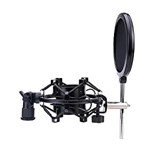 Ledinus Microphone Shock Mount With Pop Filter Windscreen Shield,Connector Adapter,Anti Vibration Suspension Metal Mic Mount for 43MM-46mm Diameter Condenser Mic, Black