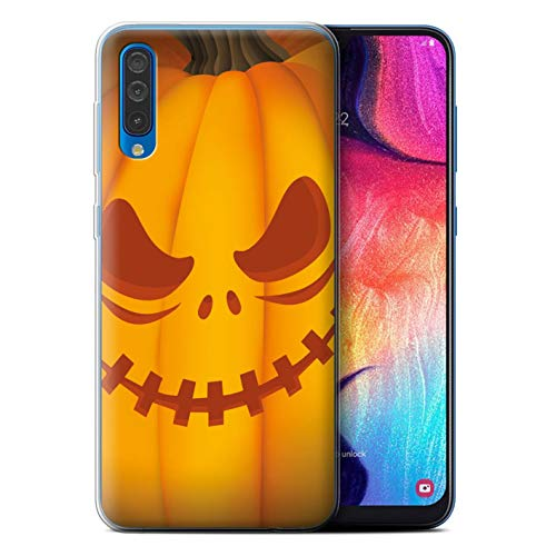 eSwish Gel TPU Phone Case/Cover for Samsung Galaxy A50 2019 / Scary Design/Halloween Pumpkin Collection]()