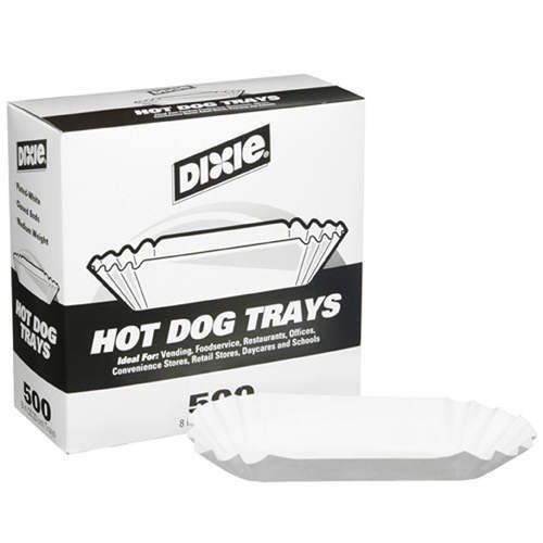 Dixie 8'' Fluted Hot Dog Tray 500ct by Dixie