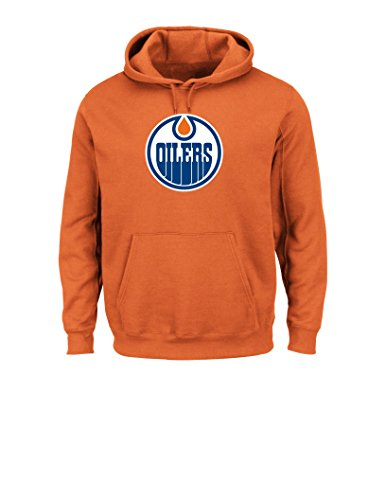 Hood Majestic Athletic (Majestic NHL Edmonton Oilers Men's Felt Tek Patch Hooded F Fleece Sweater, Large, Orange)