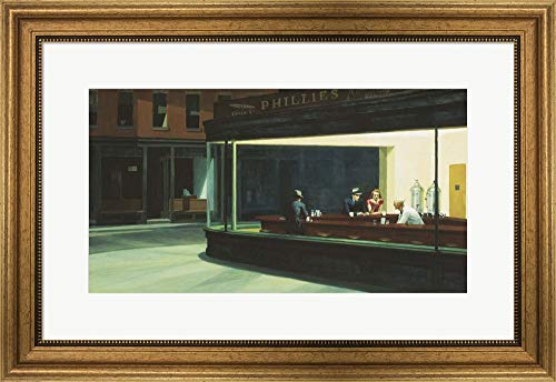 Nighthawks by Edward Hopper Framed Art Print Wall Picture, Wide Gold Frame, 26 x 18 inches (Framed Art Hopper)