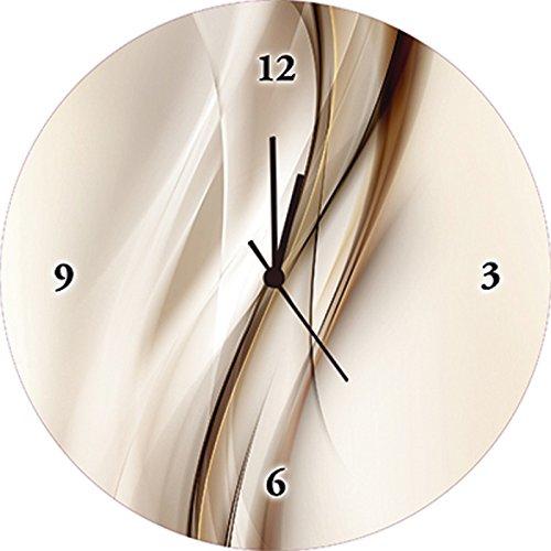 Artland Qualitätsuhren I Funk Wanduhr Designer Uhr Glas Funkuhr Größe: 35 Ø Muster Streifen Braun I8MM