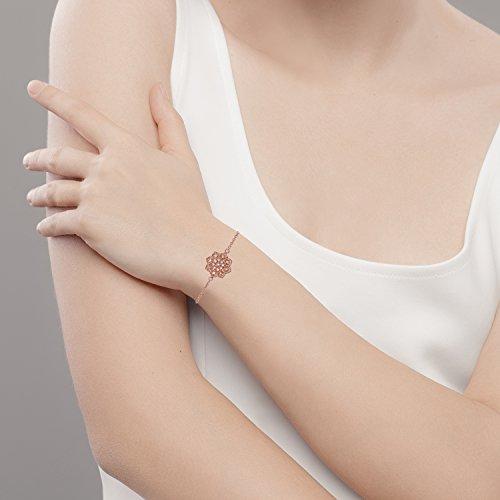 10k Rose Gold Floral Style Diamond Pendant Bracelet by Instagems (Image #3)