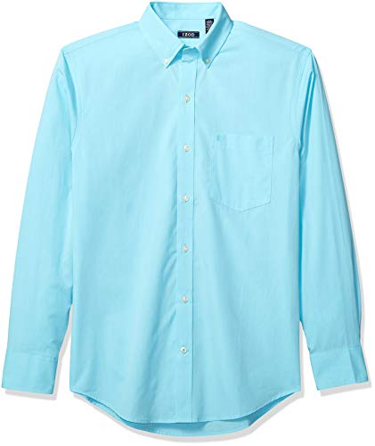(IZOD Men's Button Down Long Sleeve Stretch Performance Solid Shirt, Blue Radiance 2, 2X-Large)