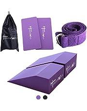 Harderwill 5 In 1 Yoga Foam Wedge Blocks (Pair), Calf Raise Block, Yoga Knee Pads Set, Calf Stretcher, Yoga Wrist Support, Balance, Pushup, Fitness, Pilates, Heel Stretcher, Squat Wedge With Gym Bag