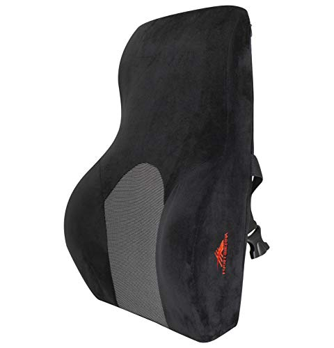 High Sierra HS1434 \ Full Size Ergonomic Back Support Pillow \ Relieves Painful Pressure Points \ Premium Memory Foam \ Lumbar Cushion for Office Chair, Car, SUV \ Fits Most Seats