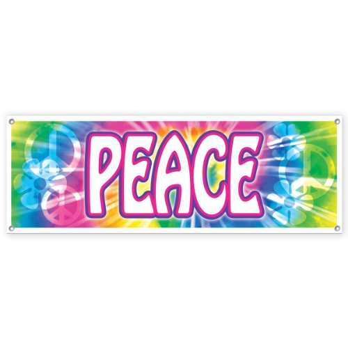 [Peace Sign Banner Party Accessory (1 count) (1/Pkg)] (60s Theme)