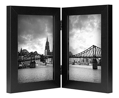 (Golden State Art, 5x7 Black Hinged Double Frame, Table/Desk Top, Portrait Display, Decorative, Real Glass)