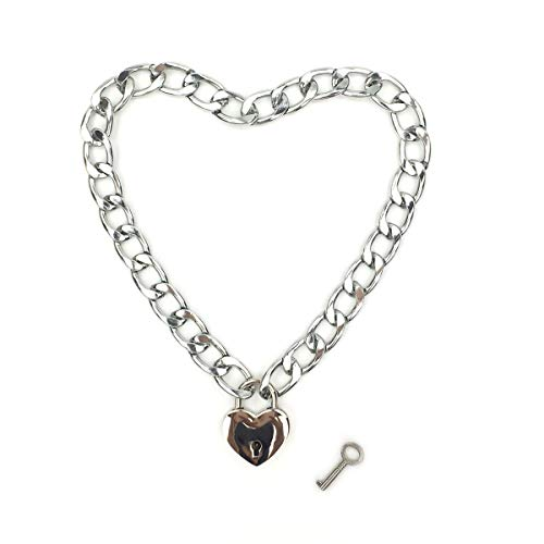 Stainless Steel Lock Pendant - Intimate Lover Heart Chain Necklace Collar Heart Padlock Choker for Men, Women and Pet (Chrome, 16)