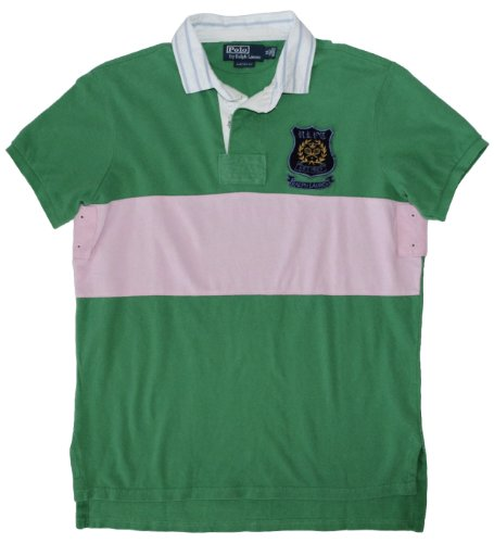 Pieced Rugby Shirt (Polo Ralph Lauren Men's Custom Fit Pieced Rugby, Polo Green/Pink, M)