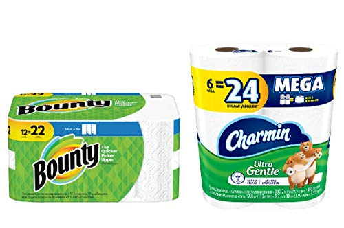 Bounty Select A-Size Paper Towels White 8 Triples = 24 Regular Rolls & Charmin Ultra Gentle Toilet Paper 6 Mega Rolls