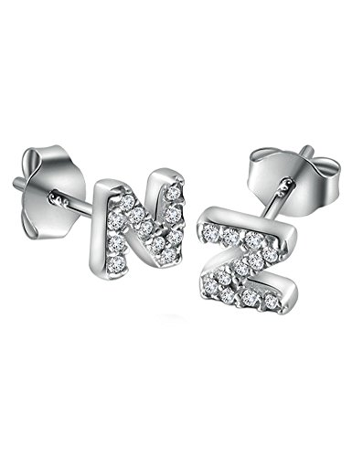 - Paialco 925 Sterling Silver Initial N Cubic Zirconia Studs Earrings,Tiny Letters