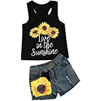 Vicbovo Toddler Baby Girls Cute Sunflower Print Vest Tank Tops Shirts+Denim Shorts Outfit Clothes Set