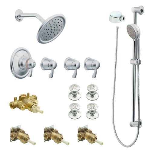 - Moen KSPEX-HB-TS275CR 7-Inch Rainshower Vertical Spa Kit with Handheld Shower and Slide Bar, Chrome
