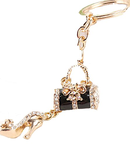 ey Chain is Embellished with Crystal Rhinestones.Gold Clasp & Ring.Cute Gift for Your Shopping Pal (Louis Vuitton Bag Charm)