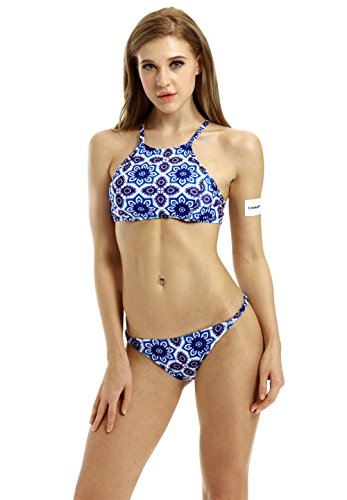 Creabygirls Womens Cute Floral Halter Top and Bottom Bikini Set(US8)