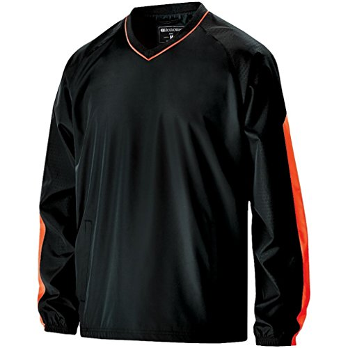 Holloway Adult Bionic Pullover Windshirt (Large, Black/Orange)