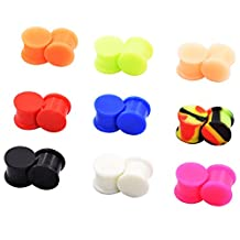 "D&M Jewelry 18pcs Silicone 6g-1"" Soft Ear Skin Flesh Tunnels Plugs Ear Piercing"