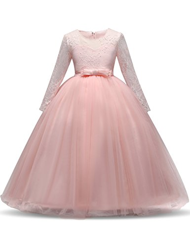 NNJXD-Girl-Lace-Tulle-Floor-Length-Bridesmaid-Dance-Ball-Gown-Dress-Size-120-5-6-Years-Pink