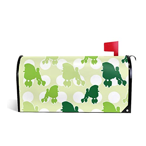 Mailbox Covers Standard Size Magnetic Mail Cover Green Poodle Polka Dot Wraps Letter Post Box Cover 21