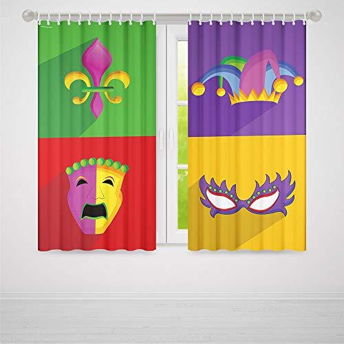 TecBillion Windows Blackout Curtain,Mardi Gras,Living Room Bedroom Décor,Colorful Frames with Mardi Gras Icons Masks Harlequin Hat and Fleur De Lis Print,37Wx51L Inches