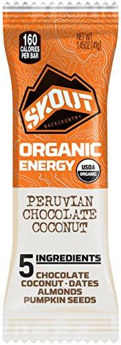 (SKOUT BACKCOUNTRY Organic Energy Bars - Peruvian Chocolate Coconut - Vegan Snacks - Plant Based & Paleo Bars - Non-GMO - Gluten Free, Dairy Free, Soy Free - No Sugar Added - 1.45 oz (12 Count))