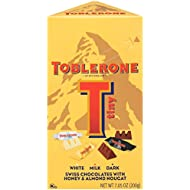 Toblerone Tiny Variety Pack, White, Milk and Dark Chocolate, 7.05 Ounce