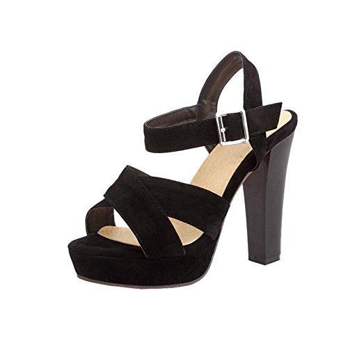 Mee Shoes Damen modern reizvoll Slingback open toe Keilabsatz Schnalle Nubukleder Plateau Sandalen mit hohen Absätzen Schwarz