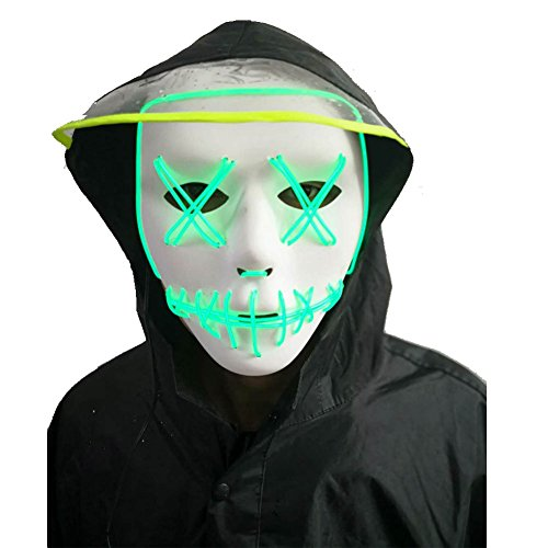 Halloween Mask,LED Masks Glow Scary Mask Light up Cosplay Mask Rave Mask Festival Music Party Parties Costume Christmas (Green 1) -
