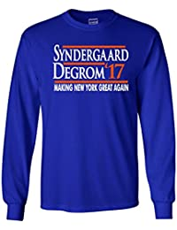 "LONG SLEEVE BLUE New York Jacob Degrom Noah Syndergaard ""2017"" T-Shirt"