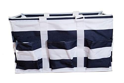 - Utility Tote Bag with Adjustable Handles, Extra Large Open Top 22 inch Collapsible with Wire Frame