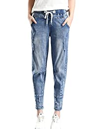 PHOENISING Women's Stylish Elastic Band Trousers Boyfriend Style Drawstring Relaxed Jeans