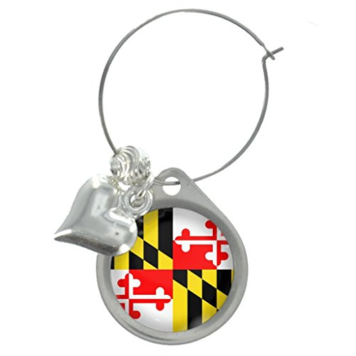Maryland US State Flag Wine Glass Charm with Decorative -