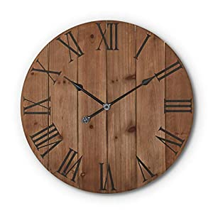 Large Rustic Wooden Wall Clock – 24 Inch – Farmhouse – Decor Kitchen/Bedroom/AirBnB Decor-Battery Operated – Metal Hands Roman Numerals – Silent Ticking – Oversized Clock – Decorative – Real Wood