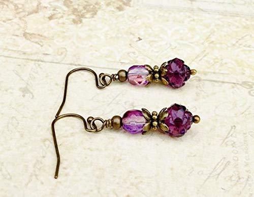 vanyjewl VANY Purple Earrings, Tanzanite Earrings, Flower Earrings, Rosebud Earrings, Purple Flower Earrings, Czech Glass Beads, Rustic Earrings, Gifts
