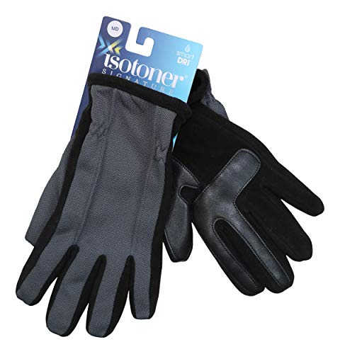- Isotoner Mens Fleece Lined Touch Screen Winter Gloves Gray O/S