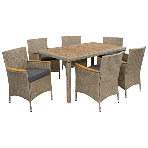 Garden and Outdoor Sunnydaze Foxford Outdoor Dining Set – 7-Piece Rattan and Acacia Outside Patio Furniture – 1 Table and 6 Chairs with 6… patio dining sets