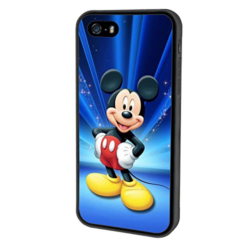 iPhone SE case, Onelee Disney Mickey Mouse Minnie [Durable Anti-Slip] TPU Defensive Case Compatible with Apple iPhone 5SE / 5S / 5 (Black) - Disney Cell Phone Cases