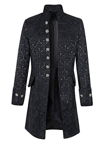 Mens Steampunk Victorian Medieval Jacket Pirate Costume Viking Renaissance Formal Tailcoat Gothic Victorian Tuxedo Coat (Goth Buttons)