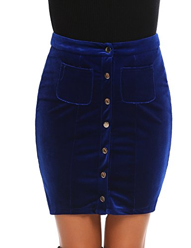 - Women Velvet Button Front High Waist Pocket Bodycon Mini Skirt (Royal Blue,L)