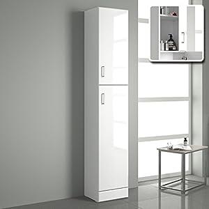 iBathUK Tall Gloss White Bathroom Cupboard Reversible