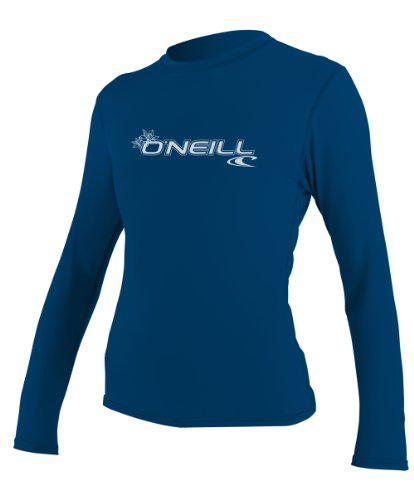 O'Neill Wetsuits UV Sun Protection Womens Basic Skins Tee Sun Shirt Rash Guard, Deep Sea, Large