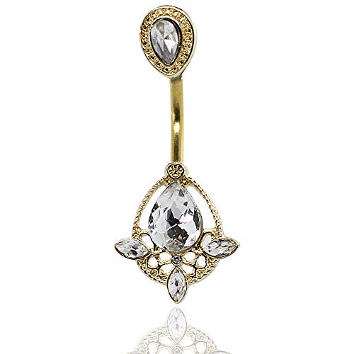 Pierce2GO 14G Belly Button Ring Piercing with Clear Crystal Teardrop Pendant 7/16